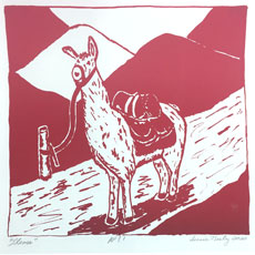 Llama image by Suzie Neely on August page of 2020 hand-printed Southern Arts Society working animals themed 2020 calendar