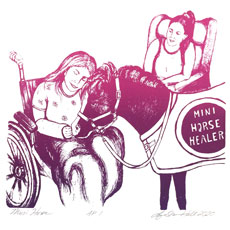Miniature horse healer image on November page of 2020 hand-printed Southern Arts Society working animals themed 2020 calendar