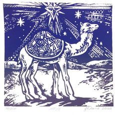 Peace on Earth camel image by Jackie Lane on December page of 2020 hand-printed Southern Arts Society working animals themed 2020 calendar