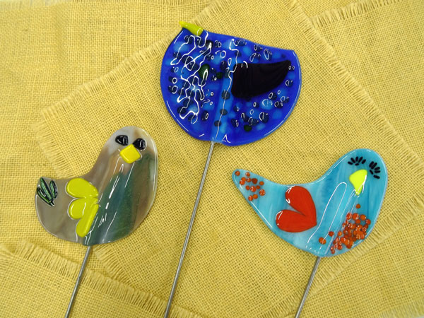 Betty McConnell - fused glass - garden stakes