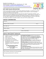 Southern Arts Society 2020 gift shop artist form.