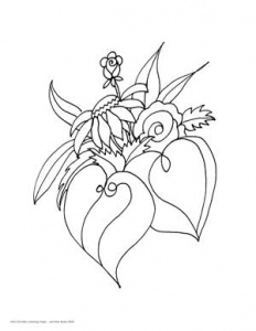 Doodle coloring page of flower by Jennifer Borja
