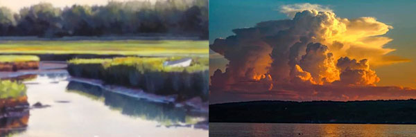 pastel and watercolor landscapes for Ron Shepard Painting Skies and Land at Southern Arts Society.
