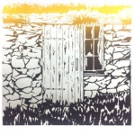silkscreen of old door and grass for page Jan 2021.