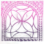 silkscreen of a magenta stained glass window for April 2021.