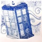 silkscreen of TARDIS for Lorie Pruitt page May 2021.