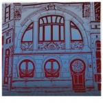 silkscreen of art nouveau windows and door for Jewel Reavis page July 2021.