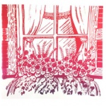 silkscreen of floral window box for Jennifer Borja page September 2021.