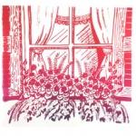 silkscreen of floral window box for Jennifer Borja page September 2021.