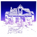 silk screen of french manor for Darlene Godfrey page Oct ober 2021.