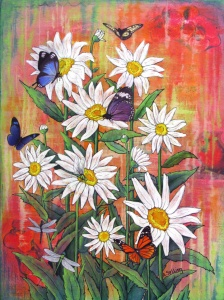 Mixed media painting of daisies and butterflies by Annie Sylling.