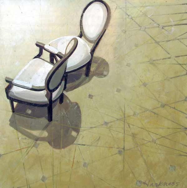 Painted arial view of 2 chairs by Anne Harkness.