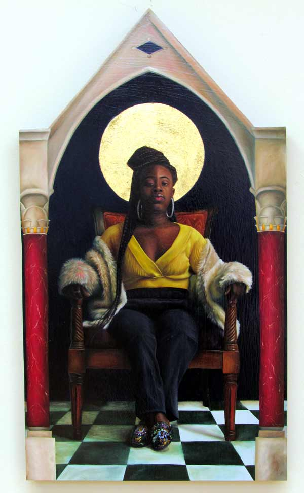 Painting of an enthroned african-american woman with a gold leaf halo by Cecil Norris.