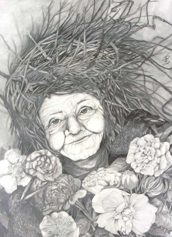 Drawing of old earth mother and flowers by Stacey Pilkington Smith.