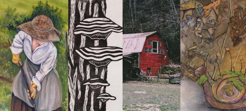 4 pieces of art - a woman raking, black and white mushrooms growing on a tree, a red rural barn, and an abstracted face and snail.