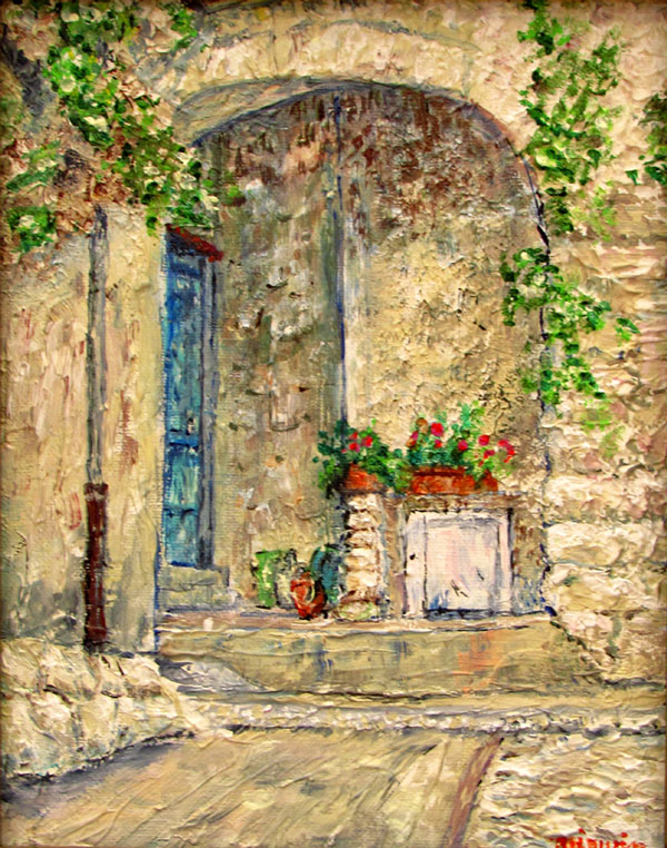 """Mimi Irwin - not pictured - wins merit award for her acrylic painting """"L'arch a Aurebeau""""."""