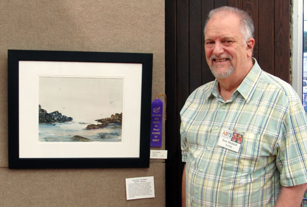 """Artist Ron Shepard wins a merit award for his watercolor """"Misty Bay""""."""