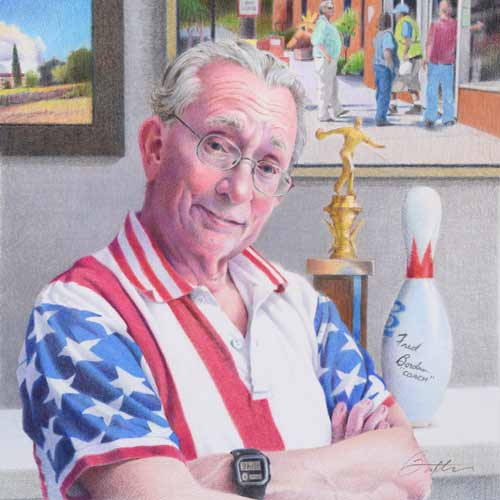 Colored pencil drawing by artist Todd Baxter depicting a man in a flag motif shirt standing in front of a bowling trophy and signed bowling pin.