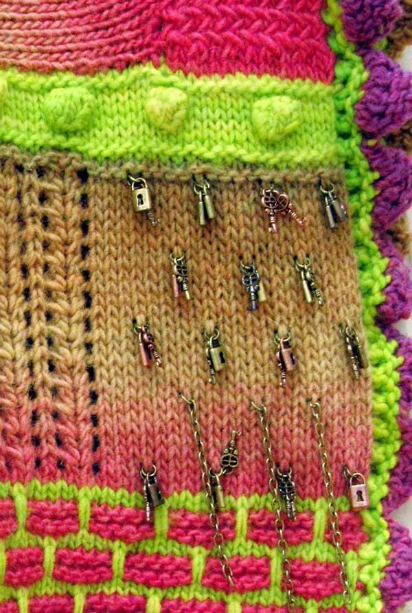 Beverly Sandararaman, Detail: Rainbow, knitting
