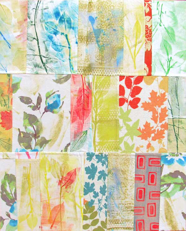 Maura Bosbyshell, Floral Landscape, hand printed fabric collage
