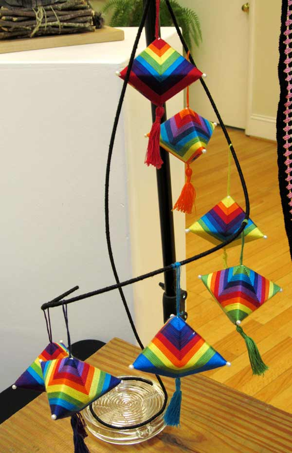 Sue Helmken, Chasing Rainbows, fiber art mobile