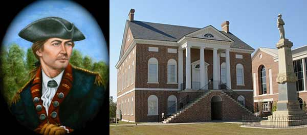 Thomas Kelly Pauley's oil portrait of Colonel Abraham Buford and the Lancaster Historic Courthouse Museum where it will be displayed.