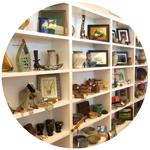 shelves of art in gift shop