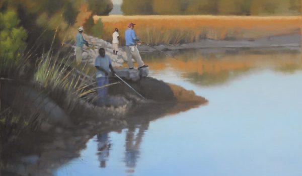 men fishing painted in oil