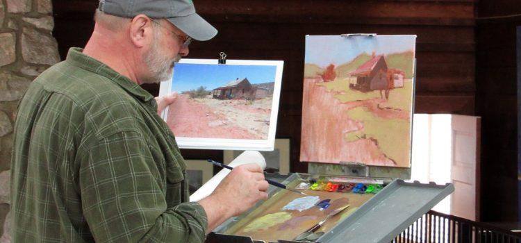 Todd Baxter painting at easel