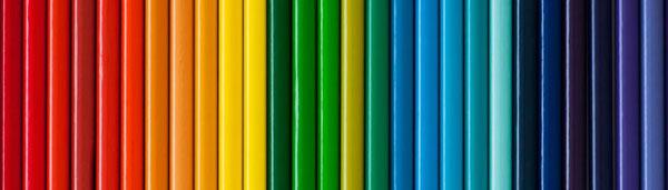 row of colored pencils like a rainbow