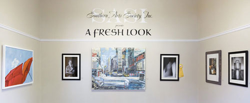 A Fresh Look entryway with 5 pieces of artwork