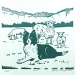 Sheep dog with 3 sheep image by Jennifer Borja on June page of 2020 hand-printed Southern Arts Society working animals themed 2020 calendar