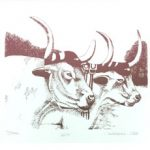 2 oxen image by Jan Wellborn for September page of 2020 hand-printed Southern Arts Society working animals themed 2020 calendar