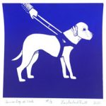 Guide dog image by Lorie Pruitt on October page of 2020 hand-printed Southern Arts Society working animals themed 2020 calendar