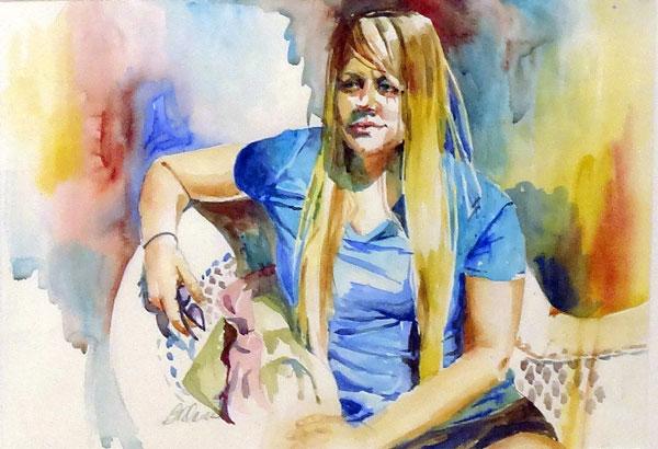 Barbara ONeal Davis - Sitting in the Morning Sun - watercolor