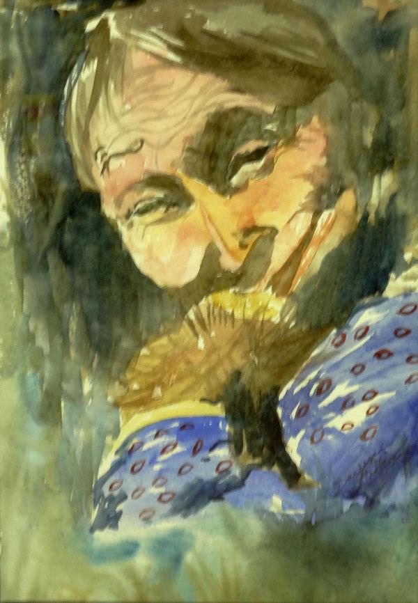 Darlene Godfrey - Thinking - watercolor