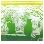 silkscreen of two cats at a window for Lori McAdams page Feb 2021.