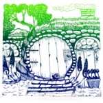 silkscreen of hobbit door for Terry Ratchford page March 2021.