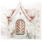 silkscreen of old church door for Shirley Brutko page June 2021.