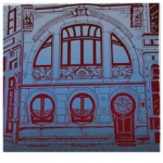 silkscreen of art nouveau windows and door for Jewel Reavis page July 2021.
