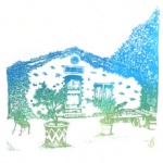 silkscreen of french country house for Jan Welborn page August 2021.