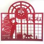 silk screen of christmas window for Lore Spivy page December 2021.